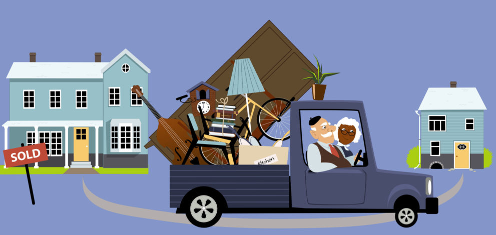 49354503 - senior couple moving their belongings from a big family house into a smaller home, eps 8 vector illustration