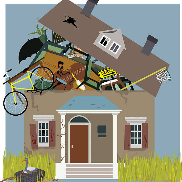 A house, bursting from piles of things, accumulated inside, vector illustration